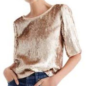 J.Crew Cropped Sequin Top Rose Gold Size 8
